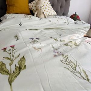 Girl's little fresh cotton plant flower printing four-piece suit-four-piece suit (flowers)