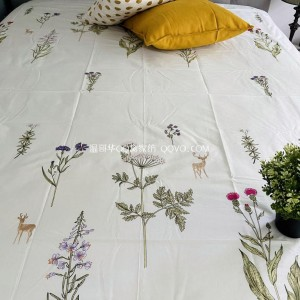 Girl's small fresh cotton plant floral print sleeping pure cotton right-angle bed sheet-single product (flowers)