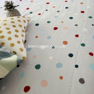 Pure cotton ins style American bedding, polka dot twill bed linen, jacquard sleeping sheet, cotton sheet-single product (light gray bottom-colored dots)