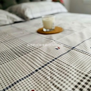 100% cotton check sheet single piece of right-angle bed sheet Nordic style simple sheet-single product (plain check)