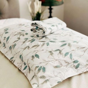 Minimalist ins style simple white bottom leaves fresh literature and art cotton pillowcase-two packs (Lianlianhuazhi)