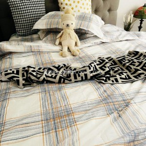 New Japanese style cold wind twill jacquard cotton bedding four-piece set-four-piece set (white background-striped pattern)