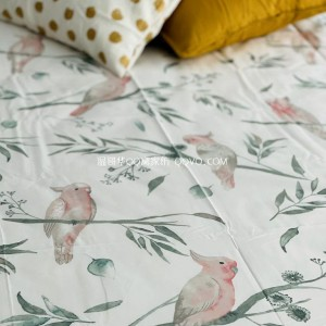 American literary pastoral style parrot cotton sheets, right angle sheets, naked sleeping sheets-single product (glacier white-parrot)