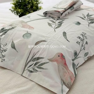 American literary pastoral style parrot cotton pillowcase single and double cotton pillowcase-two packs (glacier white-parrot)