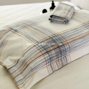 New Japanese Twill Jacquard Cotton Pillowcase Four Seasons Universal Pillowcase-Two Packs (White Background-Striped Check)