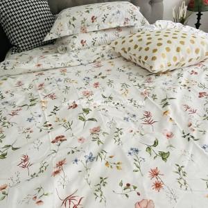 American elegant and fresh pastoral style floral cotton suit cotton naked sleeping four-piece suit-four-piece suit (Dream Garden)