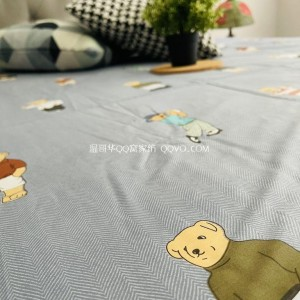 Skin-friendly cotton ins style cute bear European-style right-angle bed 100% cotton quilt single nude sleeping single bedding-single product (Winnie-the-pooh)