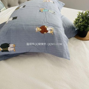 Skin-friendly cotton ins style cute bear European style right angle bed with 100% cotton pillowcase double bed bedding-two packs (Winnie the Pooh)
