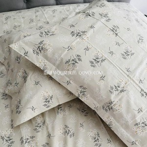 Net red small fresh garden floral cotton pillowcase simple right angle single double bed printing pillowcase-single product (light khaki floral)