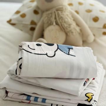 Cartoon pure cotton bed linen Nordic style single and double four-piece suit cute 100% cotton suit-four-piece suit (childlike)