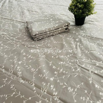 100% cotton twill bed sheet (gray bottom-white leaves)