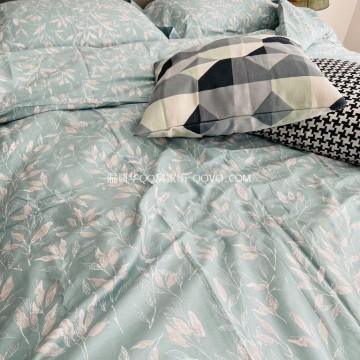 100% cotton four seasons bed sheet quilt cover pillowcase set cotton twill four-piece suit-four-piece suit (late autumn green)