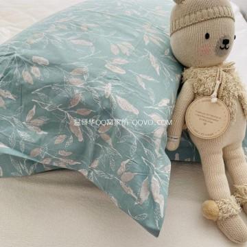 High-quality 100% cotton single double pillowcase four seasons-two packs (late autumn green)