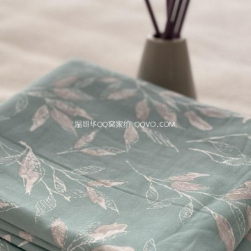 100% cotton double duvet cover four seasons-single piece (late autumn green)
