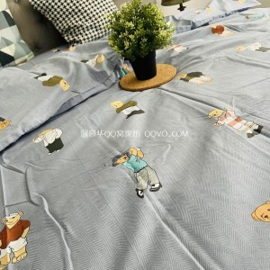 Skin-friendly cotton ins style cute bear European-style right-angle bed 100% cotton four-piece suit bedding set-four-piece suit (Winnie the Pooh)