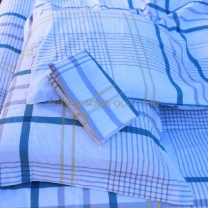 Export quality washed 100% cotton three-dimensional jacquard four-piece suit four seasons universal cotton suit-four-piece suit (blue, white and yellow plaid)