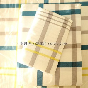 100% jacquard cotton twill bed sheet (white background-blue and yellow plaid)