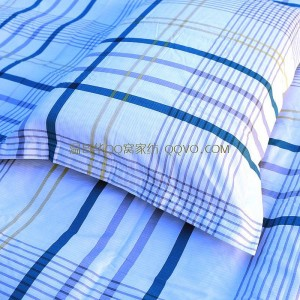 Export quality washed 100% cotton three-dimensional jacquard pillowcase four seasons universal pillowcase-two sets (blue, white and yellow check pattern)