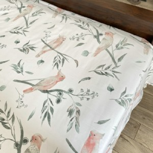 Export Day Single-tailed Pure Cotton Twill Bed Sheets Cotton Quilt (Glacier White-Parrot)