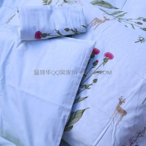 Girls' fresh cotton plant floral printing duvet cover, cotton four seasons universal single double bed duvet cover-single product (multiple flowers)