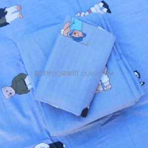 Skin-friendly cotton ins style cute bear European style right angle bed 100% quilt cover double bed bedding-single product (Winnie the Pooh)