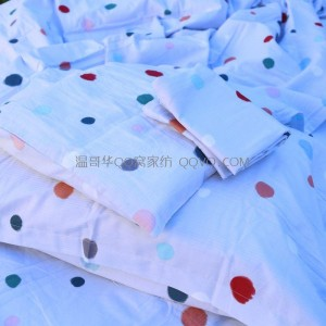 Pure cotton ins style American bedding, polka dot twill quilt cover, jacquard quilt cover, full cotton quilt cover-single product (light gray background-colored dots)