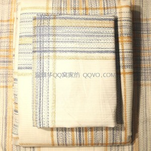 New Japanese Twill Jacquard Cotton Quilt Cover Four Seasons Universal Quilt Cover-Single Product (White Background-Striped Check)