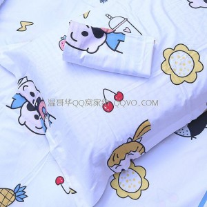 Cartoon cotton bed linen Nordic style quilt single cute 100% cotton nude sleeping sheet-single product (Childlike)