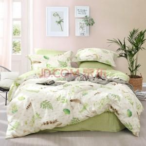 水星家纺出品 百丽丝 全棉印花四件套 纯棉套件 床单被套 被罩床上用品 星春野 双人 1.8米床 220*240cm