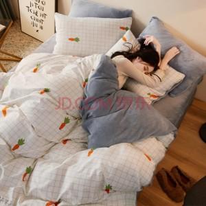 九洲鹿 家纺套件法兰绒四件套珊瑚绒冬季被套200*230cm床单床上用品 1.5米床 小萝卜