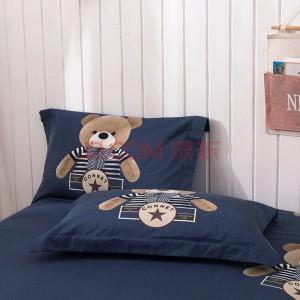 艾薇 枕套家纺 全棉斜纹印花枕头套 纯棉加厚磨毛枕芯套 一对装 布迪熊 48*74cm