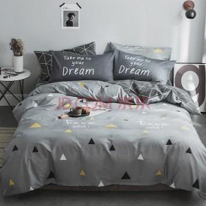 九洲鹿家纺 纯棉高支斜纹印花全棉四件套 梦莎拉蒂套件 1.5/1.8米床 被套200*230枕套床单床上用品