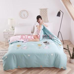 艾薇 被套家纺 全棉斜纹印花双人舒适加大被套被罩单件 伊尚蓝 200*230cm