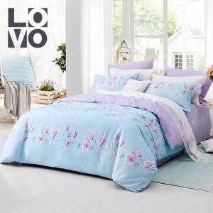 LOVO家纺罗莱生活出品床上用品床单四件套 1.8m床全棉纯棉特价被套被罩