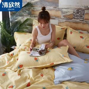 清欣然(QinGXR)家纺 四件套学生宿舍床上用品单人学生床单被套被子三件套床上用品