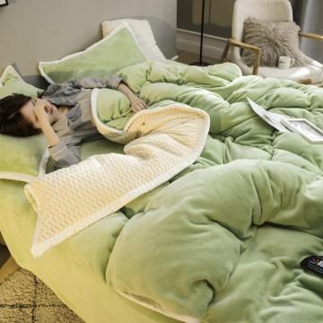 8斤加厚冬季法兰绒四件套保暖双面绒被套珊瑚绒床上用品床单4被子