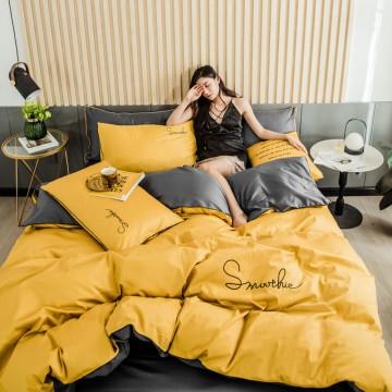 水星家纺60支磨毛刺绣全棉四件套床上用品纯棉欧式网红床笠款冬季